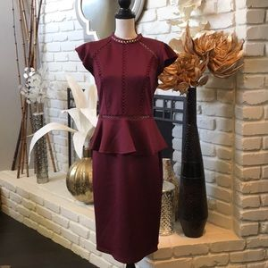 BISOU BISOU wine colored dress w/ open cut detail!
